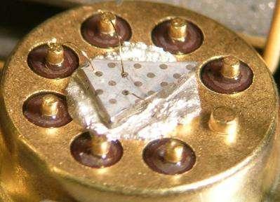 Vue rapprochée du détecteur d'hydrogène développé par des chercheurs de l'université de Floride Le détecteur utilise de petites tiges d'oxyde de zinc pour mesurer la quantité de gaz présente dans l'air (Crédits : University of Florida)