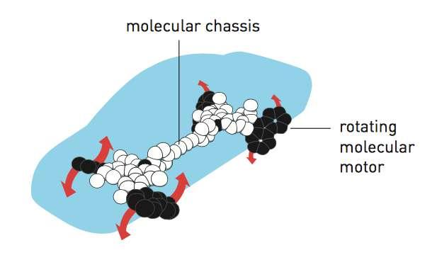 La nanovoiture est composée d'un châssis moléculaire (molecular chassis, en anglais sur le schéma) et de quatre moteurs moléculaires qui peuvent être mis en rotation (rotating molecular motor). © Johan Jarnestad, The Royal Swedish Academy of Sciences