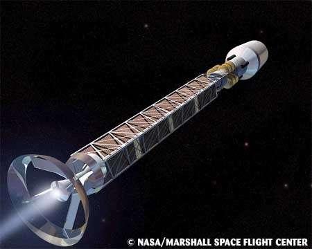 Une vue d'artiste d'un projet de vaisseau avec propulsion à antimatière.