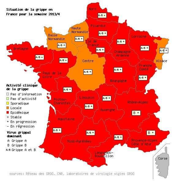 Comme la semaine précédente, pour la grippe, les quatre mêmes régions ne sont pas en situation épidémique générale : l'Alsace, la Basse-Normandie, le Centre et la Haute-Normandie. © Grog