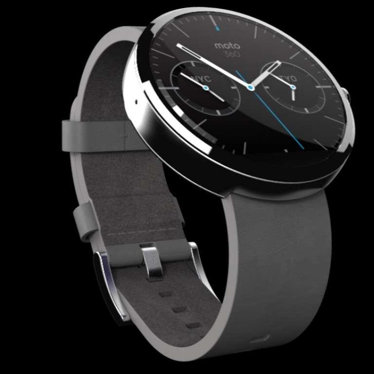 Dès l'annonce d'Android Wear, Motorola a présenté son projet de montre connectée. La Moto 360 joue sur le design classique des premières montres bracelet. Sa sortie est prévue cet été aux États-Unis. © Motorola