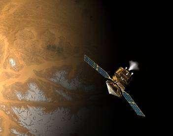 Mars Reconnaissance Orbiter allumera son moteur principal demain soir, en vue de son freinage et de sa mise en orbite autour de la planète rouge (Crédits : NASA)