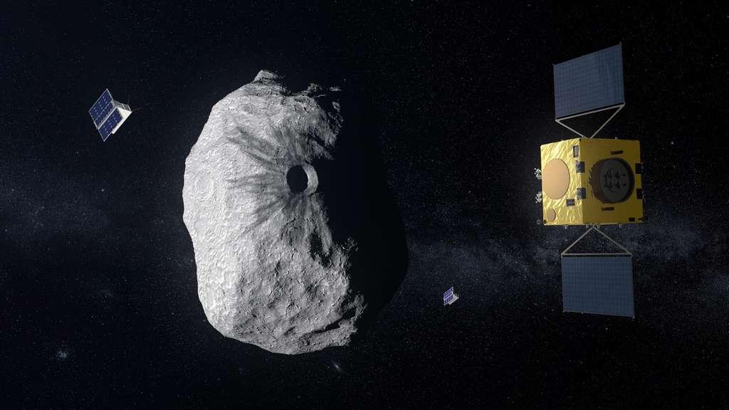 Schéma simplifié des missions Dart (Nasa) et Hear (ESA) pour dévier la trajectoire de Didymos B, le petit satellite orbitant autour de Didymos. © ESA, bureau des sciences