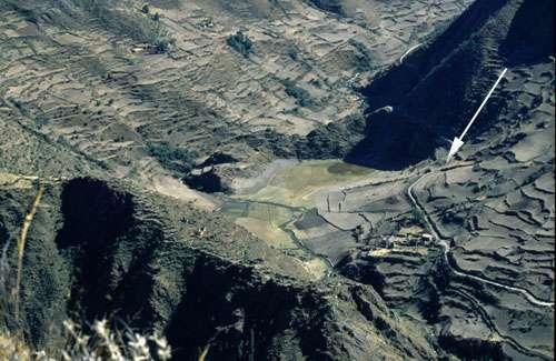Vue aérienne de la vallée couverte d'anciennes terrasses où se niche le petit lac de Marcacocha avec le chemin des Incas qui le longe (flèche). Nous sommes à 85 kilomètres au nord-ouest de Cuzco. © Alex Chepstow-Lusty UMR CNRS 5059 - Tous droits réservés