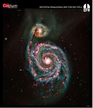 Figure 8 : la galaxie des chiens de chasse, Messier 51, montre dans ses bras spiraux des zones de couleurs différentes. Les zones plus rouges sont celles où se forment de jeunes étoiles. Une galaxie, plus petite, est en interaction (en haut).(c) CFHT