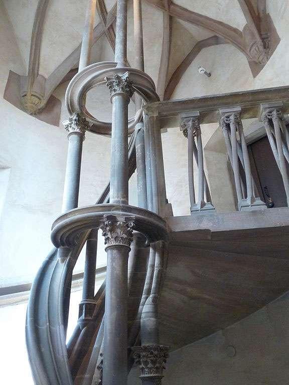 Escalier en vis de Hans Thoman Uhlberger, construit vers 1579. Musée de l'Oeuvre Notre-Dame de Strasbourg © Ji-Elle, wikimedia commons, CC 3.0