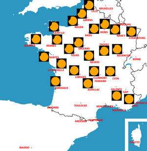 L'éclipse en France. Cliquez pour agrandir. D'après Project Pluto Guide 7.0