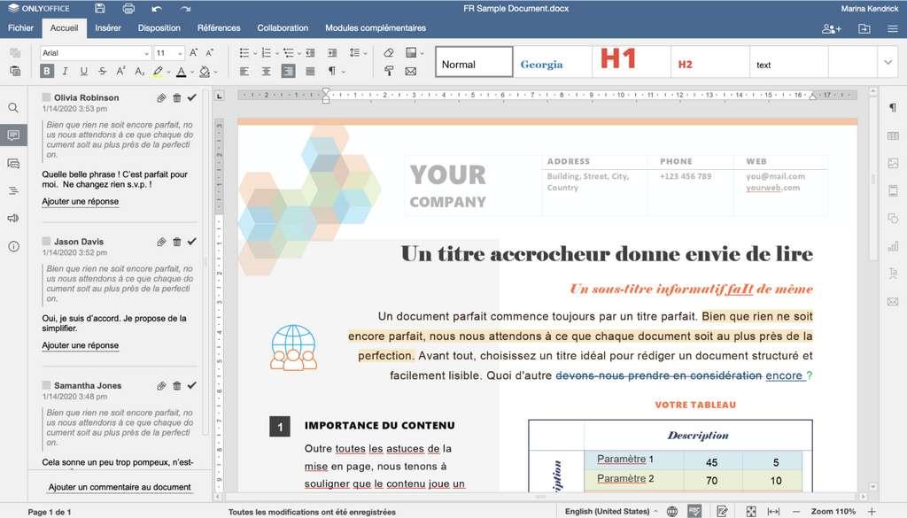 ONLYOFFICE Docs intègre un éditeur de documents compatible avec les formats Word et OpenOffice © ONLYOFFICE