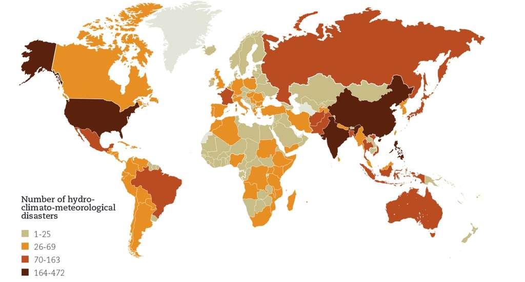 Par pays, le nombre d'inondations et de tempêtes entre 1995 et 2014. © UNISDR