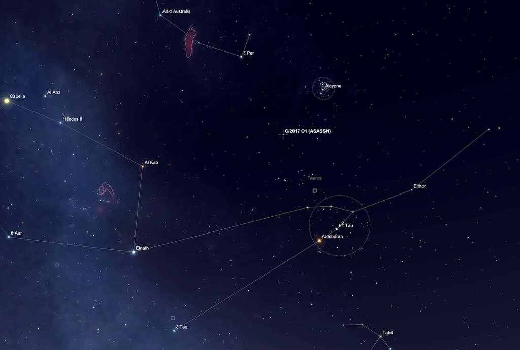 Position de la comète C/2017 O1 (ASASSN1), entre les Hyades et les Pléiades, le 21 septembre vers 2 h du matin. © SkySafari