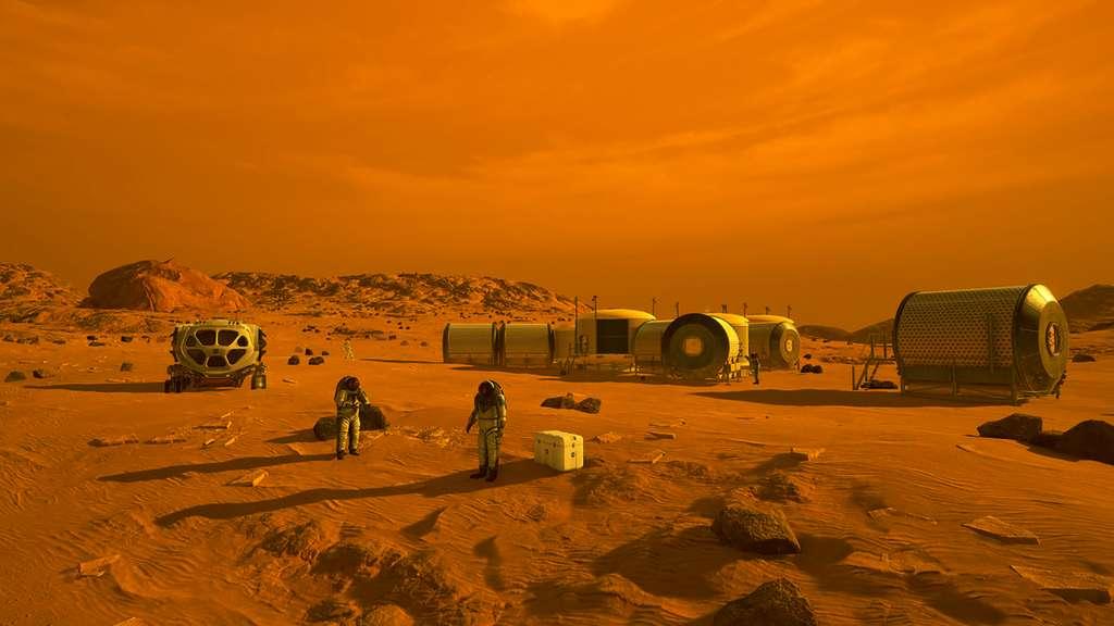Concept d'habitats martiens à l'étude. © Nasa