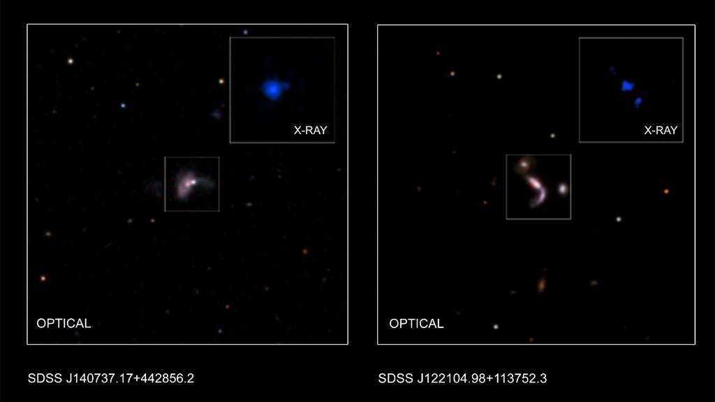 Deux trous noirs supermassifs binaires observés aux rayons X (X-ray, en anglais sur les images) par Chandra et associés à des galaxies en interaction vues dans le visible (optical). © Nasa