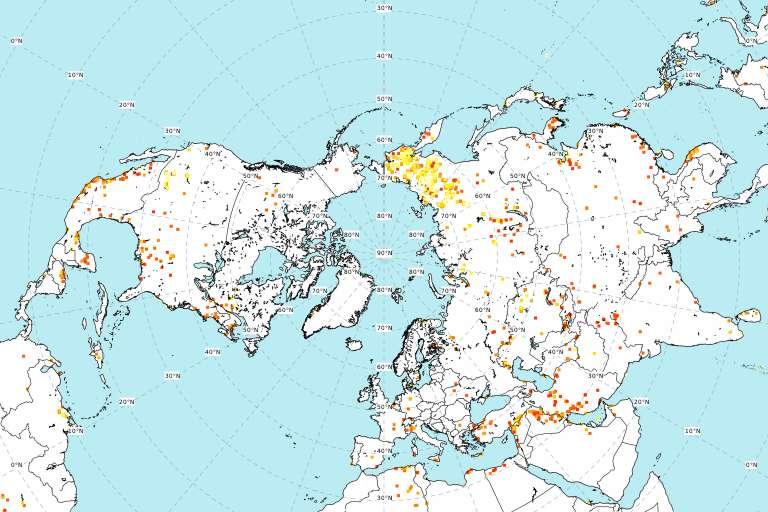 La carte des incendies autour du pôle Nord le 21 juin 2020. © CAMS