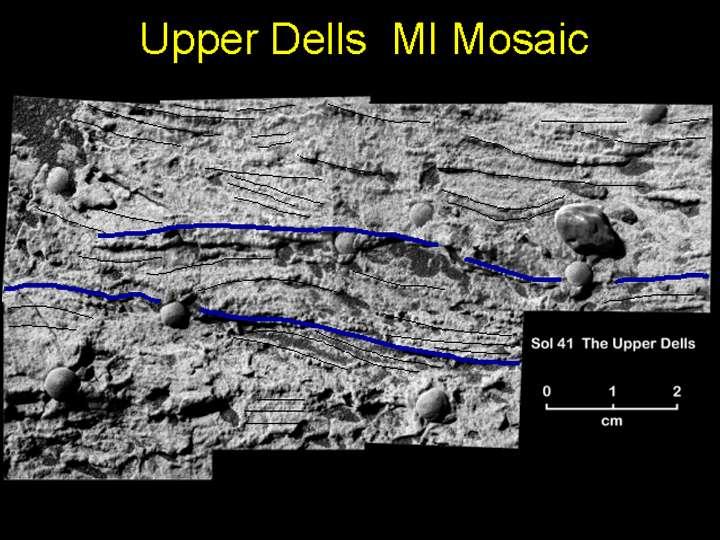 Fig. 7 A (en haut) Stratification entre-croisées obliques photographiées dans Eagle Crater. Fig.7 B (en bas) Stratifications entre-croisées dans des calcaires précambriens de Californie. (C) M. Miller, Univ. Oregon.