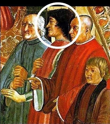 En partant d'une sculpture ou d'un portrait peint, le logiciel de reconnaissance faciale (Faces) pourrait identifier Laurent de Médicis, qui se trouve à côté du pape Honorius III sur cette fresque peinte en 1485 par Domenico Ghirlandaio. © UCR