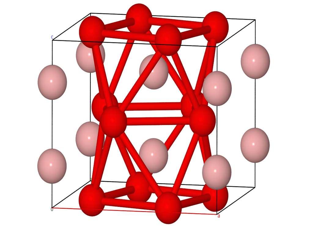 Il existe plusieurs types de borure de fer, de formule générale FexBy. Les deux principaux représentants sont le FeB et le Fe2B, dont la structure est schématisée ici. © Swhan1993, Wikipedia, CC by-SA 4.0