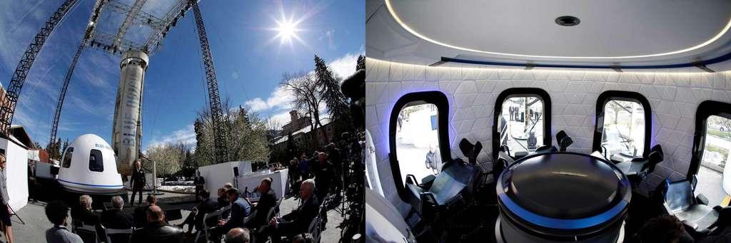 Présentation par Jeff Bezos, patron de Blue Origin, de la capsule du News Shepard. © Blue Origin