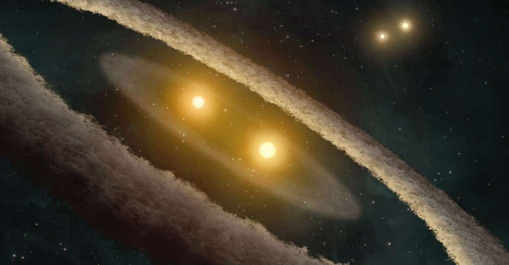 Comment préciser les modèles de formation planétaire ? Ici, une vue d'artiste du système HD 98800. © Nasa, JPL-Caltech, T. Pyle (SSC), Wikimedia Commons, DP