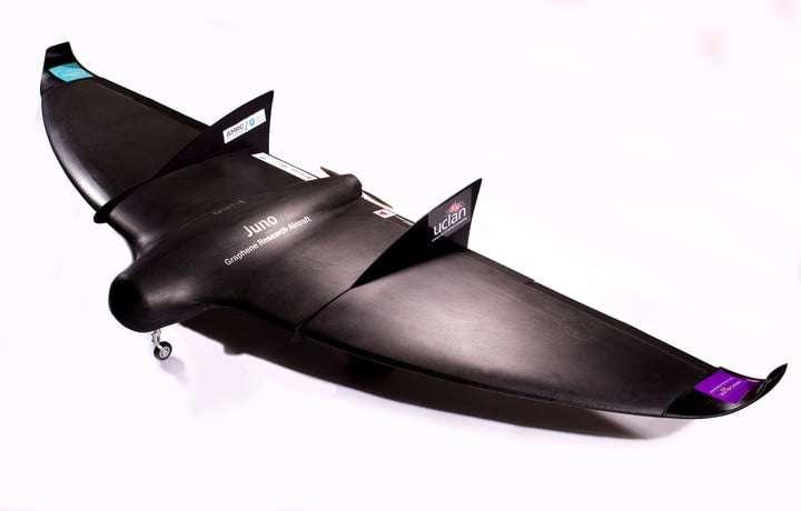 Revêtue de graphène, cette aile volante de 3,5 mètres d'envergure transporte également des batteries enfermant ce matériau un peu magique. En plus d'alléger considérablement la masse de l'aéronef, le graphène empêche la constitution de glace sur les ailes en altitude. © UCLan
