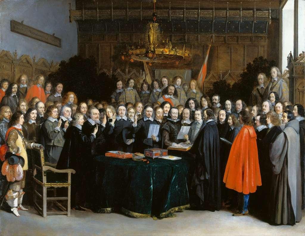 Tableau représentant la ratification du traité de Münster en 1648, par les plénipotentiaires du roi d'Espagne et des Provinces-Unies ; par Gerard Ter Borch en 1648. Rijksmuseum, Amsterdam. © Wikimedia Commons, domaine public