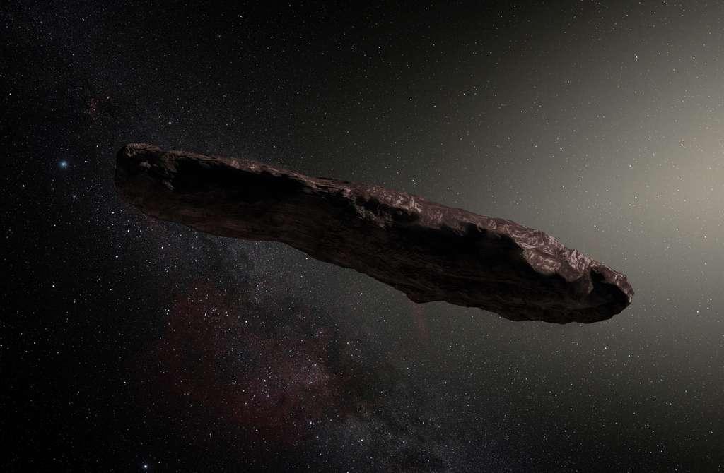 Portrait-robot de 'Oumuamua, premier visiteur venu d'une autre étoile découvert. De quoi s'agit-il ? Un astéroïde ? Une comète ? Une sonde avec voile solaire ? © ESO