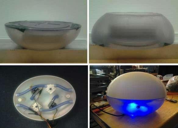 Le robot sous-marin du MIT se compose de deux parties, visibles sur ces clichés. La première renferme la partie électronique (centrale inertielle) et la seconde, perméable, contient le système de propulsion. © MIT