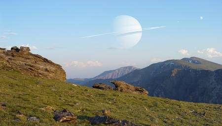 Cliquer sur l'image pour l'agrandir. Il existe peut-être dans la Galaxie une exolune habitable où l'on peut admirer ce genre de spectacle. Crédit : Dan Durda