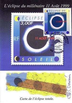 Un timbre consacré à l'éclipse totale émis par La Poste.