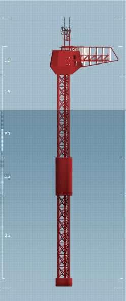 Le Polar Pod : un pylône d'acier de 100 m de hauteur, pour environ 70 m de tirant d'eau (l'échelle est en m), et portant une vaste nacelle perchée à une vingtaine de mètres au-dessus de l'eau. Avec sa masse et son profond ballast, l'engin est très stable, même dans les « cinquantièmes hurlants ». © Jean-Louis Étienne