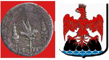 À gauche, aigle royal sur une pièce et, à droite, blason de la ville de Nice. © Reproduction et utilisation interdites