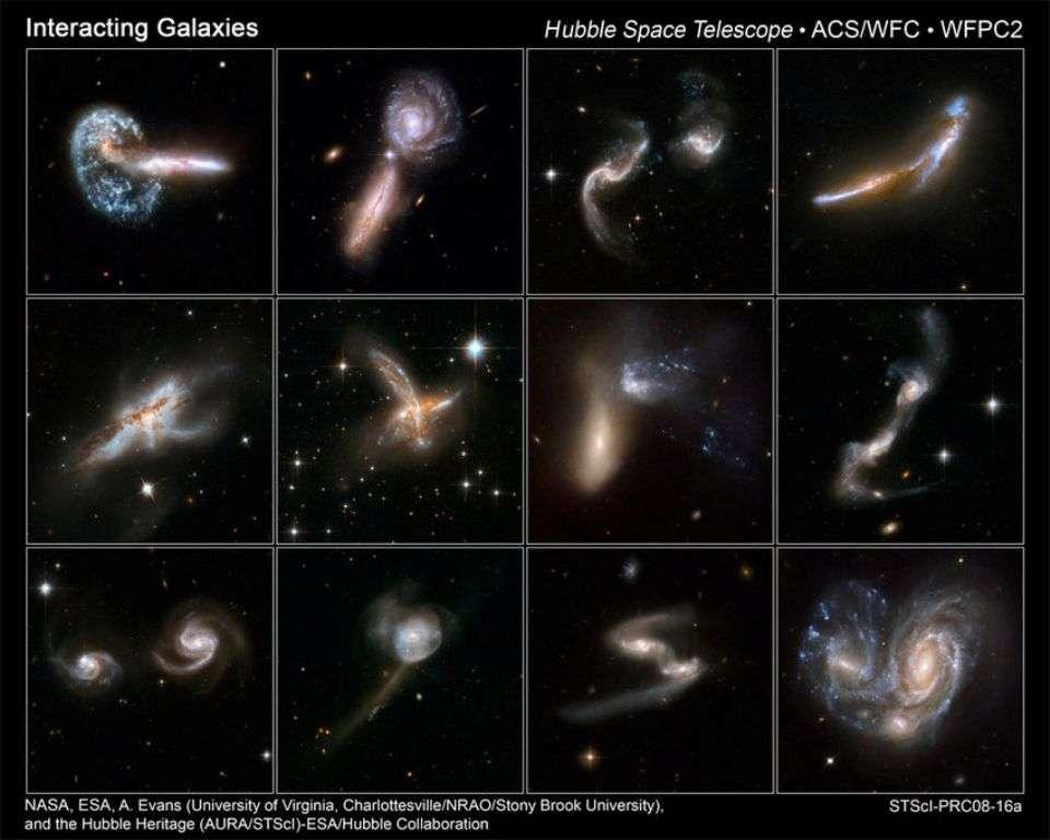 Une série d'images prises par Hubble montrant des galaxies en interaction. Dans certains cas, ces collisions conduisent à des fusions. © Nasa