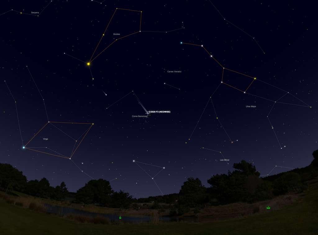 Position de la comète Neowise le 31 juillet, vers 22 h. Les astérismes sont marqués en orange. © SkySafari