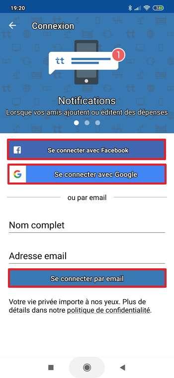 Vous pouvez vous servir d'une adresse email, de votre compte Facebook ou de votre compte Google pour vous connecter à Tricount. © Tricount