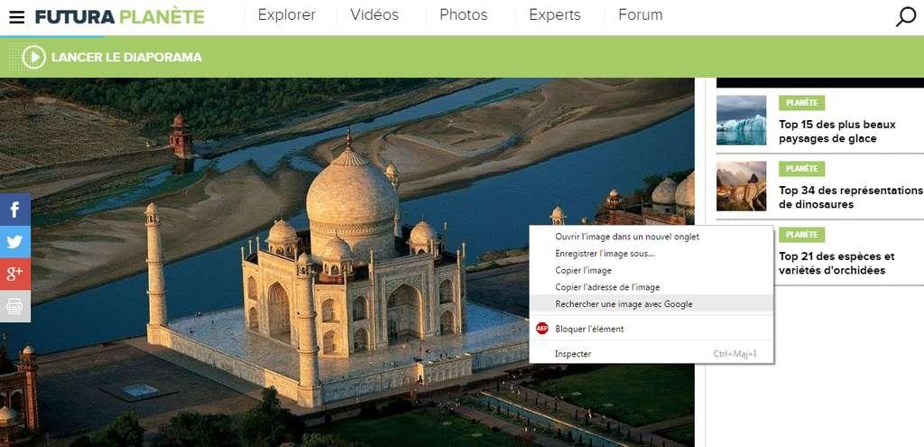 La recherche d'une image sur Google peut se faire d'un clic droit depuis les navigateurs Chrome ou Firefox. © Futura