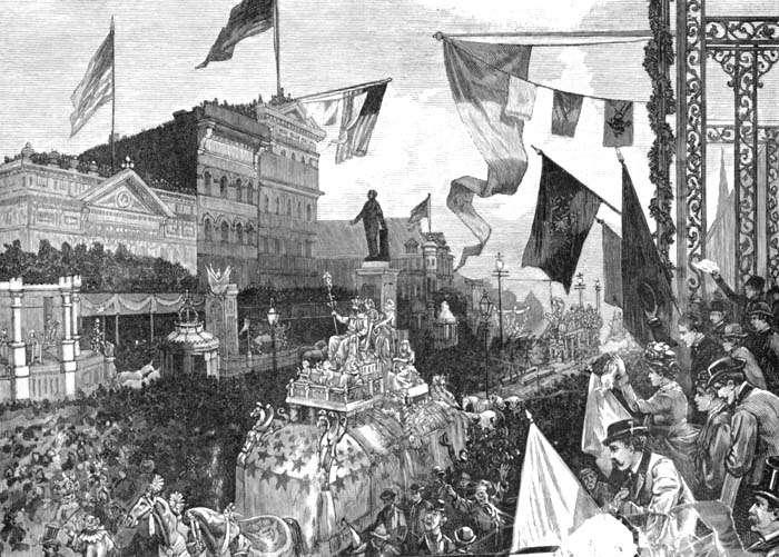 Dessin de John Parkin, publié dans le Harper's Weekly, représentant le carnaval en 1885. © John Perkin, Wikimedia Commons, Domaine Public