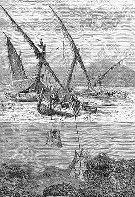 Figure 13a : barque coralline récoltant du corail avec des croix de saint André. © Reproduction et utilisation interdites