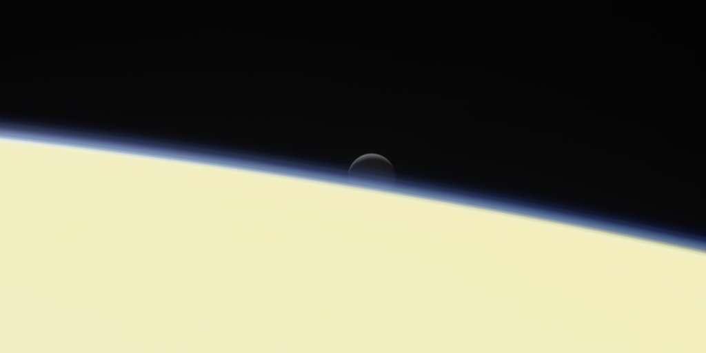 La dernière image d'Encelade prise par Cassini avant son plongeon suicide dans Saturne le 15 septembre 2017. © Nasa, JPL, Space Science Institute