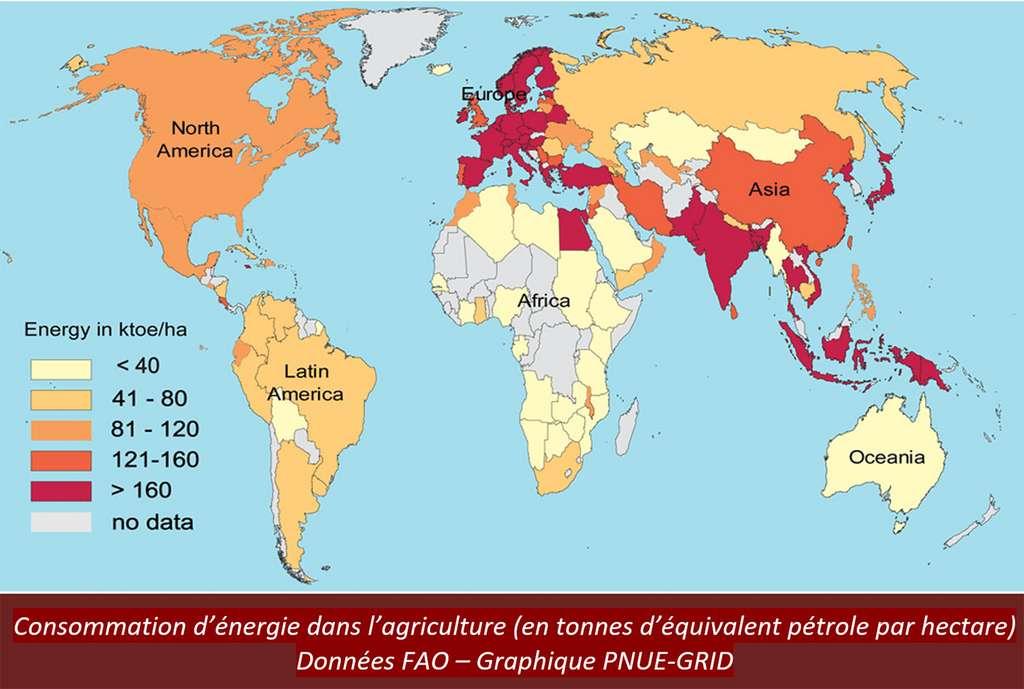 Carte de la consommation d'énergie dans l'agriculture. © FAO