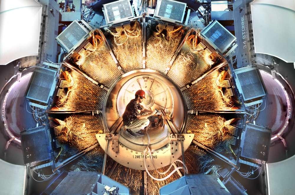 Une vue du détecteur Babar en Californie. Son nom vient de celui du méson B, qui se note B, et de son antiparticule, désignée par un B surmonté d'une barre. © Peter Ginter, SLAC National Accelerator Laboratory