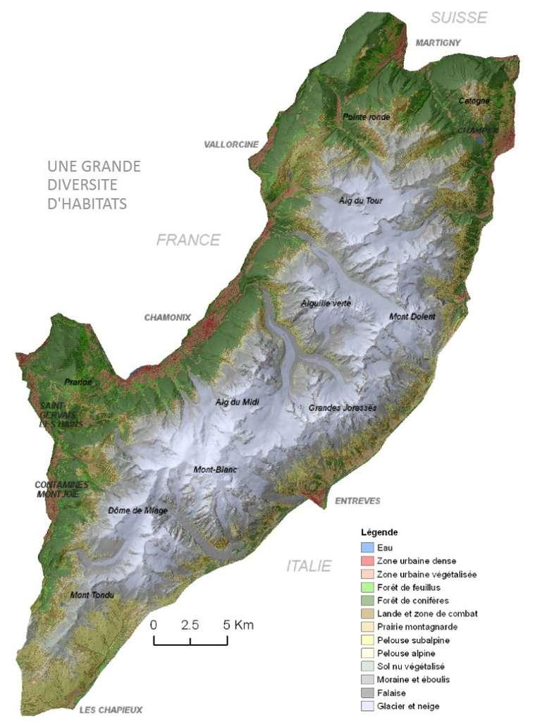 Une des nombreuses cartes disponibles sur le site de L'Atlas du mont Blanc : enrichie des noms de lieux, celle-ci montre les types de milieux naturels que l'on y rencontre. © Atlas du mont Blanc