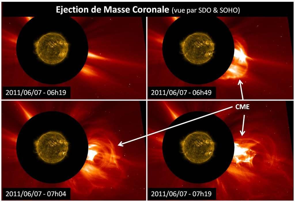 L'atmosphère solaire a été observée par le satellite SDO (en jaune) et l'espace interplanétaire proche (en rouge) par le satellite Soho (par coronographie) lors d'une éjection de masse coronale (l'immense structure blanche éjectée vers la droite). © SDO, Nasa, Soho, ESA
