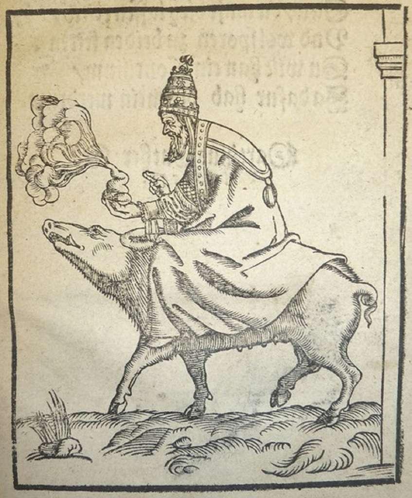 Gravure satirique de Lucas Cranach l'Ancien (Sauritt des Papst : le pape à cheval sur un cochon, avec un excrément en main qu'il est en train de bénir), XVIe siècle ; dans Caricatures anticatholiques des débuts de la Réforme par Jean Stouff. © Biblioweb, OpenEdition Freemium