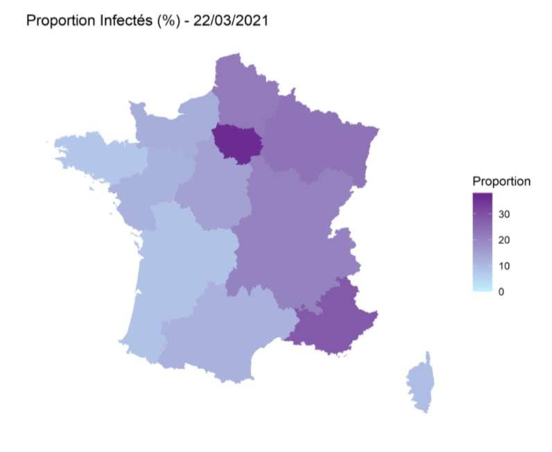 Cette figure représente, en France métropolitaine, les estimations les plus récentes de la proportion de la population adulte (au-dessus de 20 ans) ayant été infectée par SARS-CoV-2 dans les différentes régions de France métropolitaine.