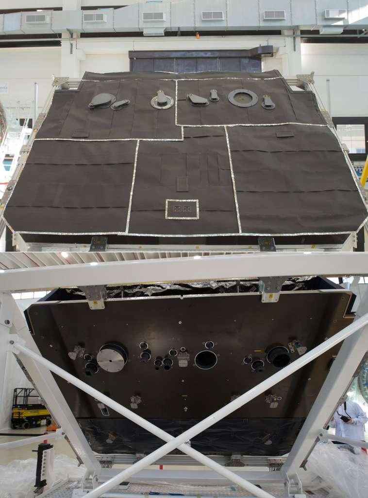 Les faces avant (en haut) et arrière du bouclier de la sonde Solar Orbiter. © Rémy Decourt