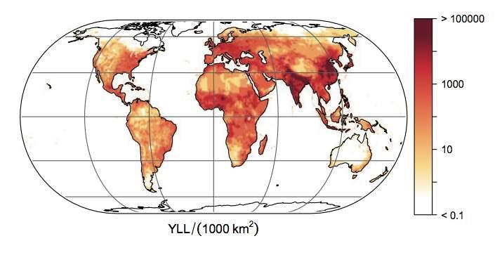 En Afrique et en Asie du Sud, dans les pays à faible revenu, les enfants souffrent tout particulièrement de la pollution de l'air. Mais ce n'est pas le cas ailleurs dans le monde. Ici, le nombre d'années de vie perdues à cause de la pollution de l'air. Au total, une moyenne de 233 millions d'années par an. © Cardiovascular Research