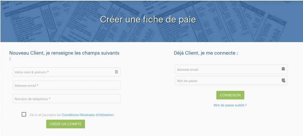 Créez dans un premier temps un compte sur le site fiche-paie.net