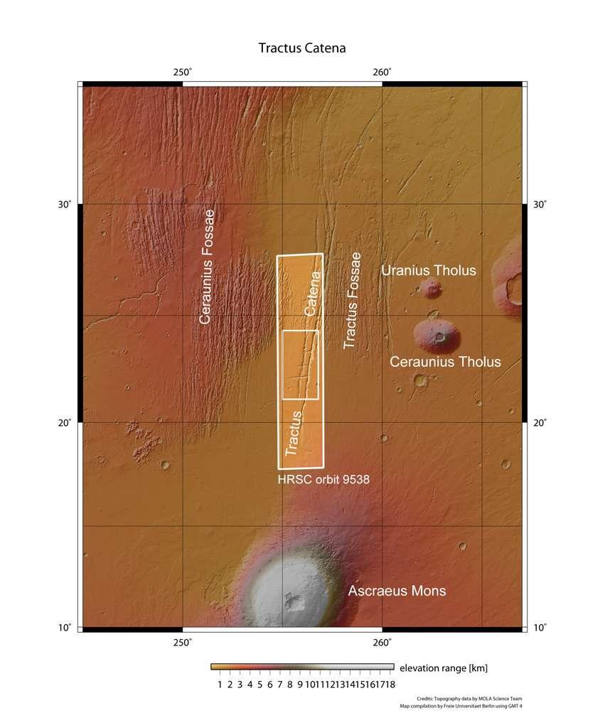 Cette image montre une partie du dôme de Tharsis (à proximité du volcan bouclier Ascraeus Mons) où la sonde Mars Express a photographié des rangées de cratères le long de failles de rupture. © Esa/DLR/FU Berlin (G. Neukum)