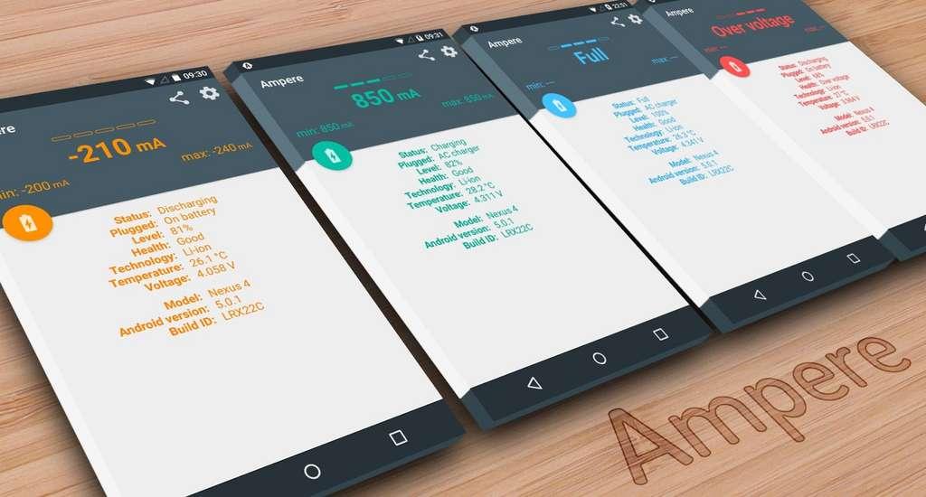 L'application Ampère fournit les données détaillées sur la température et l'état de la batterie. © DR