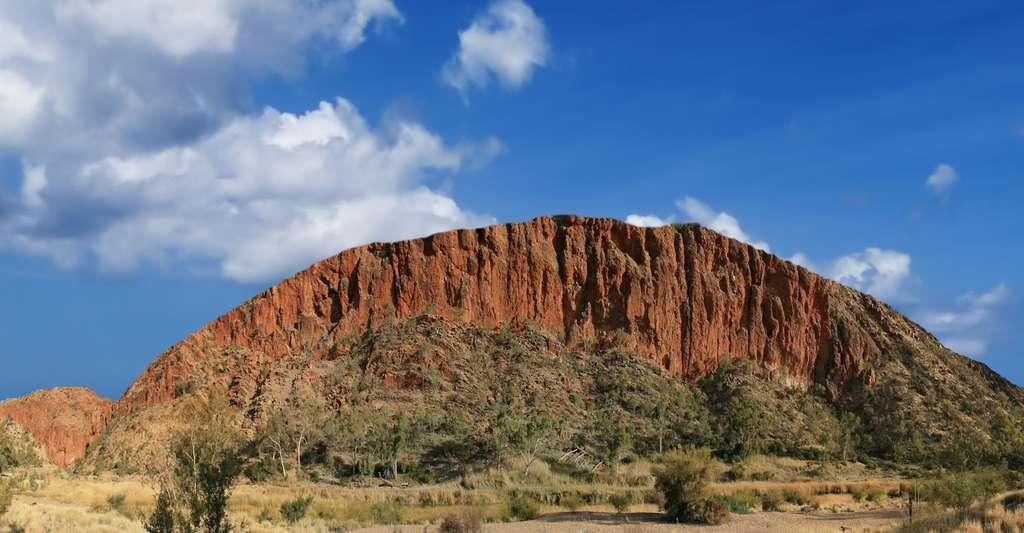 Vue panoramique du bord ouest de la gorge Glen Helen. Cette formation géologique fait partie de la chaine des West MacDonnell dans le Territoire du Nord australien. L'orogénie d'Alice Springs a redressé une dalle de 12 km de quartzites rouges sur une longueur de 644 km. La gorge a été creusée dans cette dalle, qui a mieux supporté l'érosion que les roches plus tendres qui l'entouraient au moment de l'orogénie. La chaine est totalement incluse dans un parc national. © Toby Hudson, CC BY-SA 3.0