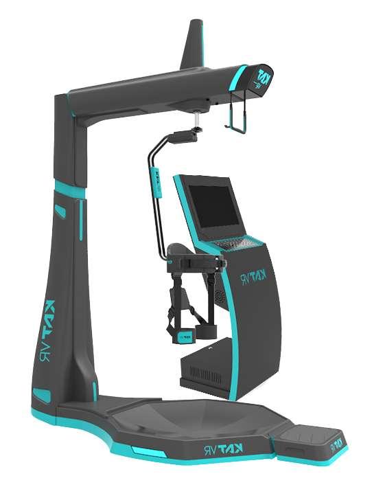 Lorsqu'un utilisateur joue sur le simulateur de réalité virtuelle Kat Walk VR, seul un harnais le rattache au monde réel. © XDVR